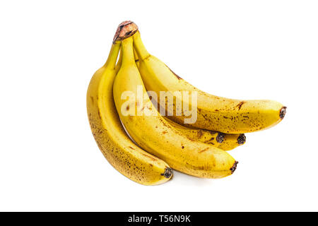 Bunch of Ripe Bananas with dark spots isolated on white - Stock Image