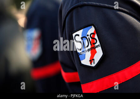The Seine and Marne. Coulommiers. Commemorative ceremonies of November 11th, 2014. Sappers firemen with the guard with you owe the war memorial. Close-up on escutcheon of the sappers firemen of the Seine and Marne. - Stock Image