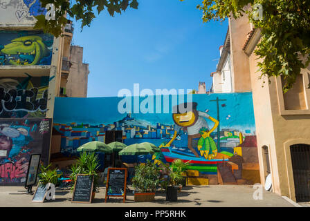 Marseille, FRANCE, Old CIty Center, Tourists Visiting Neighborhood, Street Art on Display in old Neighborhood, the Panier - Stock Image