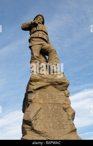 Lifeboat memorial statue commemorating 27  deaths of lifeboat personnel in 1886 St Annes on Sea Fylde Coast February 2019 - Stock Image