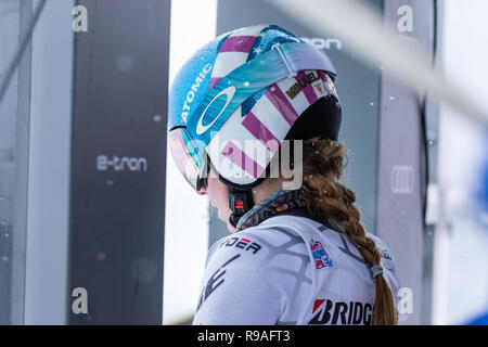 Courchevel, Rhone Alpes, France, 21st December 2018, Mikaela Shiffrin of USA wins Courchevel Ladies Giant Slalom Audi FIS Alpine Ski World Cup 2019 - Stock Image