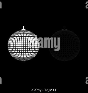 Disco sphere suspended on line rope Discotheque ball Retro night clubs symbol Concept nostalgic party icon outline set white color vector - Stock Image