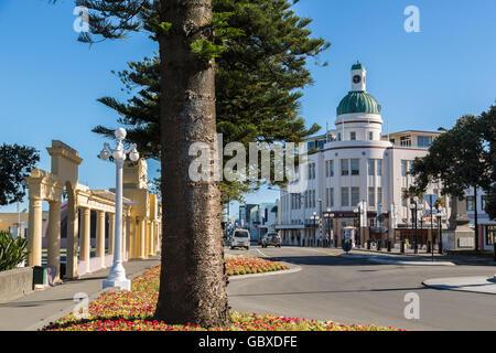 Art Deco T&G building along Marine Parade, Napier, New Zealand - Stock Image