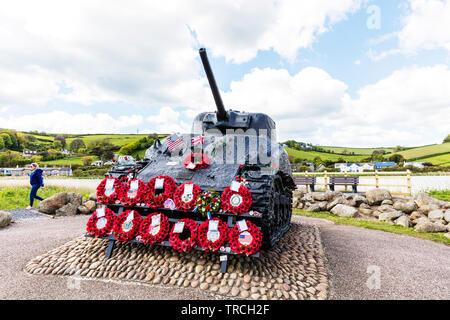 Exercise Tiger Memorial Torcross Devon UK, Exercise Tiger Memorial tank, Exercise Tiger tank, Slapton Sands Sherman Tank Memorial Site, Sherman tank - Stock Image