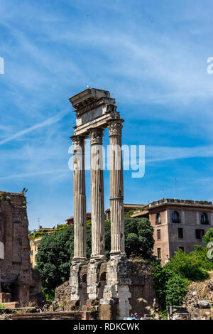 Rome, Italy - 24 June 2018:The ancient ruins of Temple of Castor and Pollux, Roman Forum in Rome - Stock Image