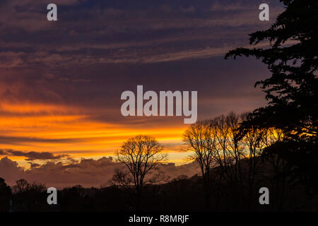 Sidmouth, UK. 16th Dec 18 A stormy day cleare away to give a fabulous sunset over the Sid Valley, at Sidmouth, UK. Devon. Photo Central/Alamy Live News - Stock Image