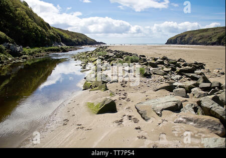 Long sandy beach in Stradbally Cove,County Waterford,Ireland. - Stock Image