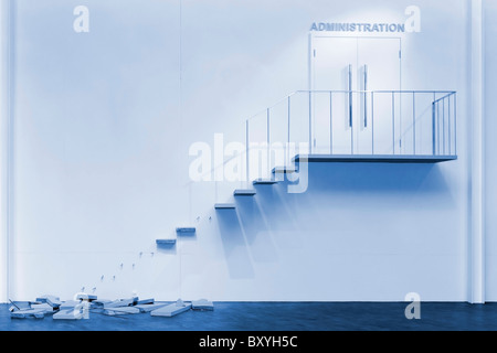 Broken steps and banisters to the office - Stock Image