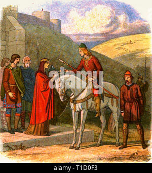 Death of King Edward the Martyr (c. 962 - 978), painting by Edmund Evans (1826 - 1905), 19th Century - Stock Image