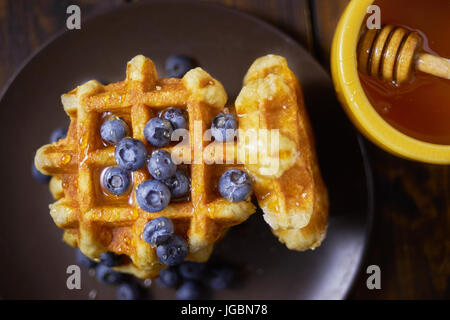 Top view of belgian waffles. - Stock Image