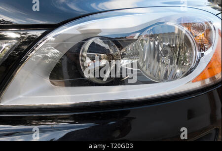 Headlights of a Car, Volvo. - Stock Image