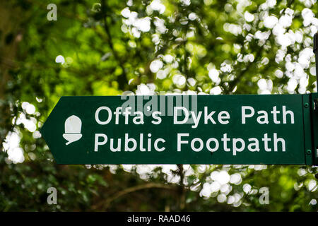 Signpost on the Offa's Dyke path in Wales, UK - Stock Image