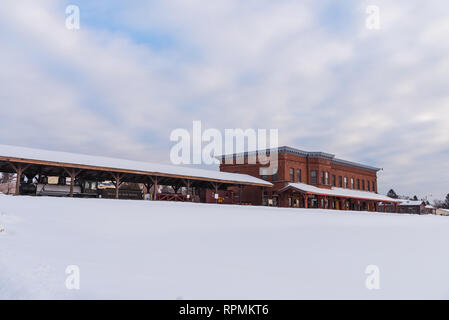 Historic red-brick building of Duluth Iron Range. Two Harbors, Minnesota, USA. - Stock Image