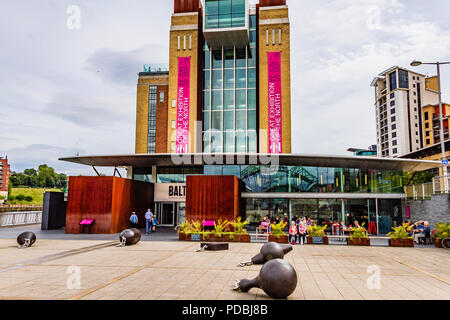 Exterior of the BALTIC Centre for Contemporary Art, an art gallery housed in a former flour mill beside the River Tyne, Gateshead, UK. - Stock Image