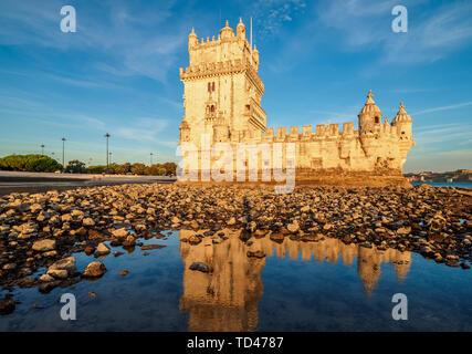 Belem Tower at sunset, UNESCO World Heritage Site, Lisbon, Portugal, Europe - Stock Image