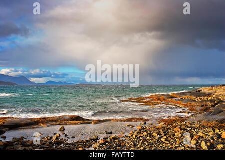 Stormy coast near Borkenes on island Hinnøya in northern Norway. - Stock Image