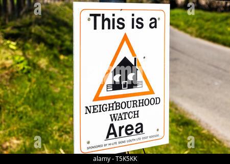 Neighbourhood watch area sign,  Neighbourhood watch area, Neighbourhood watch, area, sign, signs, warning, Neighborhood watch area sign, - Stock Image