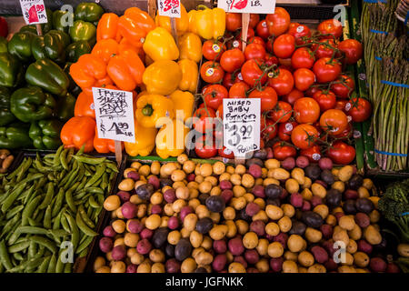 Fresh fruit on display at Pikes Place Market, in Seattle, WA - Stock Image