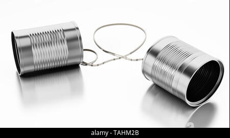 Tin cans connected to each other with a rope. 3D illustration. - Stock Image