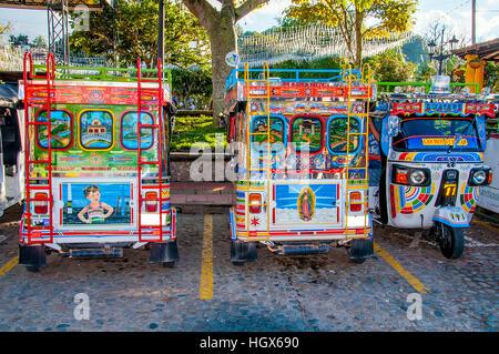 Colorful mototaxi (tuk tuk) in Guatape village, Colombia - Stock Image