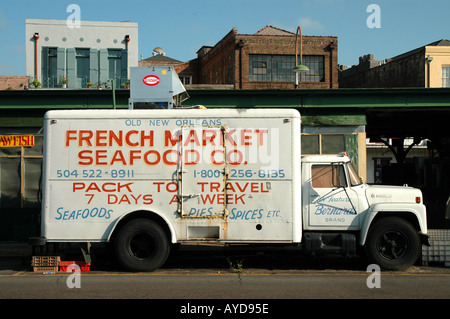 New Orleans French Market truck advertising Louisiana LA - Stock Image