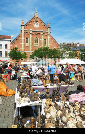 A busy antiques market in Brussels, Belgium. - Stock Image