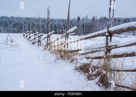 Handmade wooden fence in Finnish countryside. - Stock Image