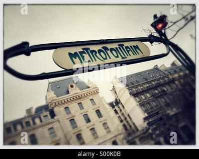 Metro sign at underground station in central Paris, France. - Stock Image