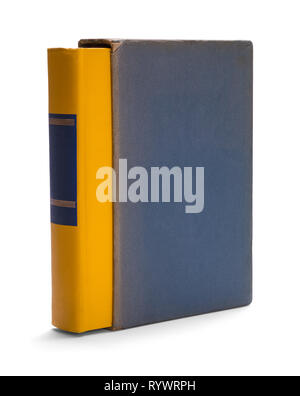 Old Yellow Book With Blue Cover Isolated on White. - Stock Image