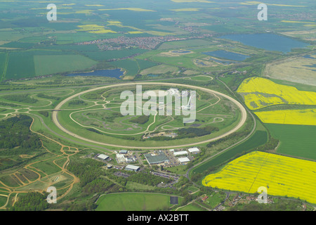 Aerial view of the Millbrook Vehicle Proving Ground in Bedfordshire showing the high speed test track & the - Stock Image