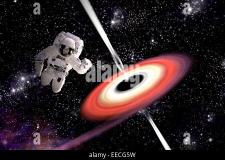 Artist's concept of an astronaut falling towards a black hole in outer space. Gamma Rays erupt from the poles - Stock Image