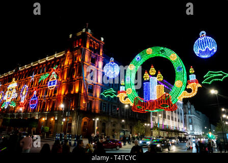 Old building with illuminations of Christmas in zocalo, mexico city, mexico - Stock Image