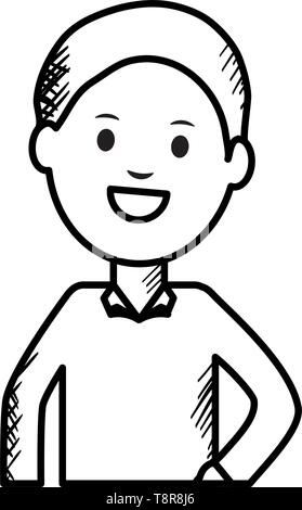monochrome young man avatar character vector illustration design - Stock Image