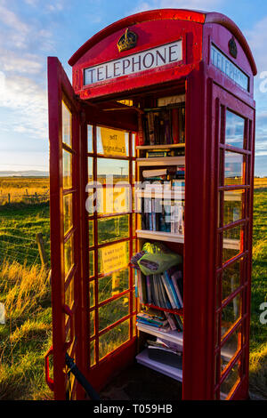 The Exchange, or Marks Book Kiosk, in a former BT telephone box.  At Scarfskerry, Caithness, Scotland, UK - Stock Image