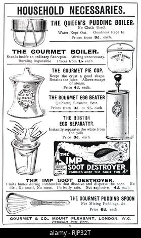 An advertisement for various kitchen gadgets. Dated 20th century - Stock Image