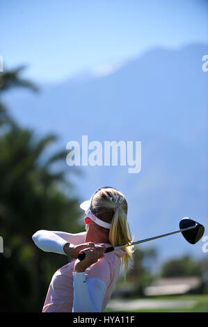 Rancho Mirage, California, USA. 2nd Apr, 2017. Pernilla Lindberg on the 15th hole during the final round of the - Stock Image