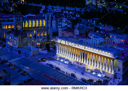 Mini Lyon, the miniature reproduction of the city at Mini World Lyon - Stock Image