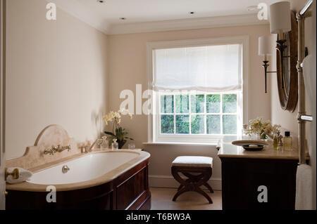 Elegant bathroom with wooden furnishings - Stock Image