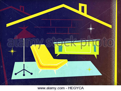 Mid century home retro illustration furniture house domestic lifestyle - Stock Image