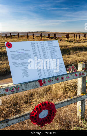 Mersea Island Silhouettes. A memoral to the men of Mersea Island who gave their lives in the first World War. - Stock Image