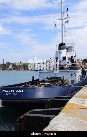 Tug boat berthed in the new port at Corfu Town, Corfu, GREECE, PETER GRANT - Stock Image