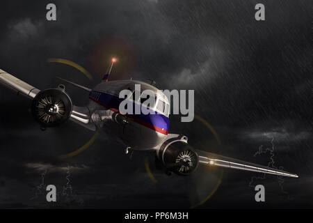Airplane Douglas DC-3, danger and dramatic situation in the dark thunderstorm. 3D render illustration. - Stock Image