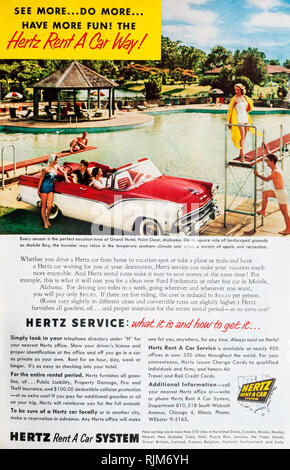 A 1955 magazine advertisement for Hertz Rent a Car. - Stock Image