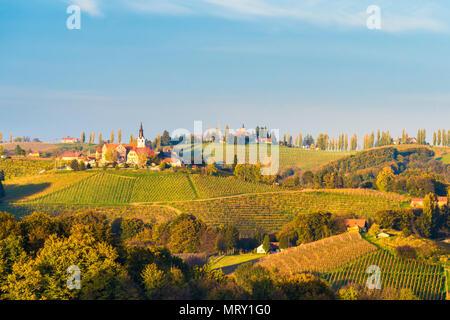View of the villages of Svetinje and Jeruzalem. Ormoz, Drava region, Slovenia - Stock Image