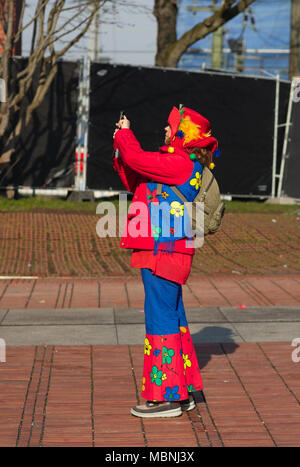 People dressed up in carnival costumes - Stock Image