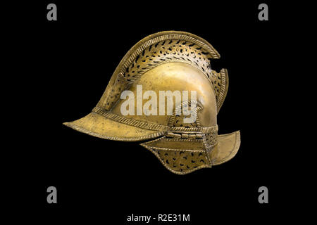 Madrid, Spain - Sept 8th, 2018: Bronze helmet of a 16th century Spanish soldier. Museum of the Americas, Madrid, Spain - Stock Image
