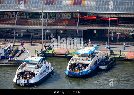 Amsterdam, Netherlands, Ferry Terminal at Central Station and Bus Station, Amsterdam Centraal, River Ij, Passenger Ferries, - Stock Image