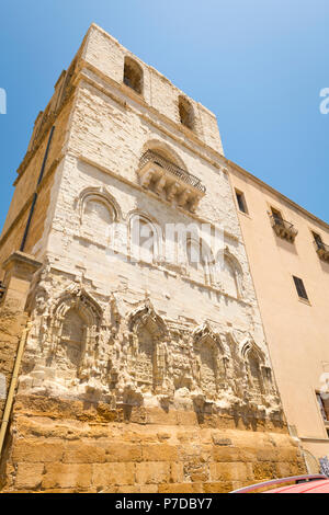 Italy Sicily Agrigento old town Cathedral Duomo Cattedrale Museo Diocesano Church religion Christian Catholic un-renovated facade bell tower balcony - Stock Image