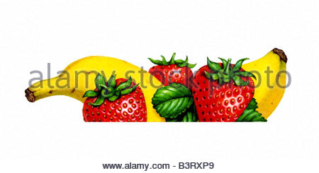 Banana & Strawberries Cropped - Stock Image