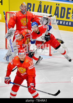 Bratislava, Slovakia. 13th May, 2019. Front is Russian ice hockey players SERGEI ANDRONOV, NIKITA NESTEROV is centre left, Czech HYNEK ZOHORNA is centre right and back is goalie ANDREI VASILEVSKIY of Russia in action during the match Czech Republic against Russia at the 2019 IIHF World Championship in Bratislava, Slovakia, on May 13, 2019. Credit: Vit Simanek/CTK Photo/Alamy Live News - Stock Image